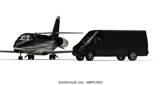 3D render image representing an private jet with a van limousine /  Van limousine with private jet