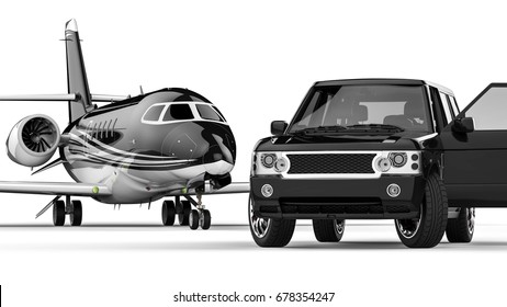 3D render image representing an ptivate jet with a limousine /  limousine with private jet