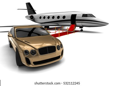 3D render image representing an red carpet with a private jet and a uxury car / Red carpet Private jet with a Luxury Car