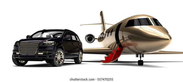 3D render image representing an red carpet with a private jet and a luxury car / Red carpet Private jet with a Luxury Car