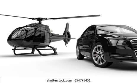 3D render image representing a rich man transportation vehicles isolated on white background / Rich man vehicles