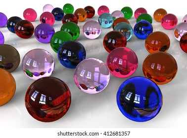 3D render image representing scattered glass marbles / Glass Marbles