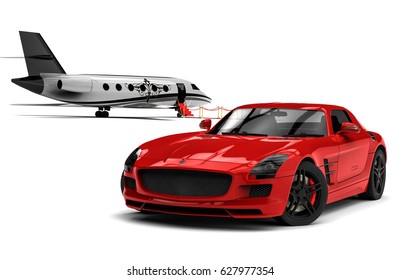 3D render image representing an sport car with a red carpet and an airplane / Private Jet and private sport car