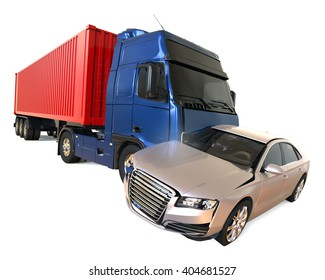 3D render image representing a truck accident / Truck accident concept