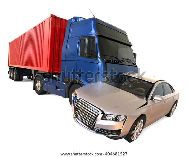 3d Render Image Representing Truck Accident Stock