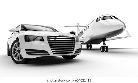 3D render image representing an white ptivate jet with an white limousine / White limousine with private jet