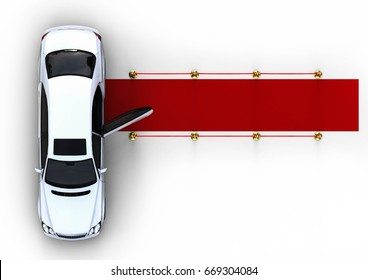 3D render image representing an white high class limousine with a open door waiting at the end of a red carpet / Waiting white limousine