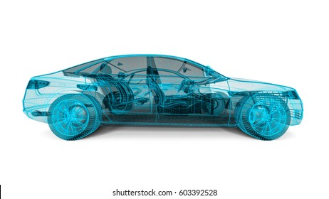 3D render image representing an wire frame car / Wire frame technology