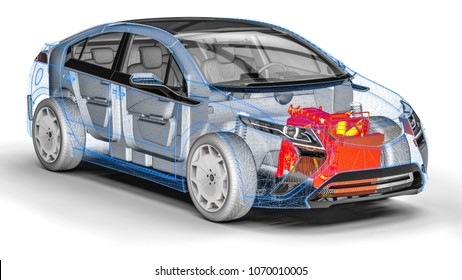 3D render image representing an xray of a car with an overheated engine