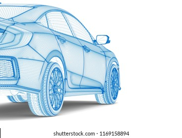 3D render image representing an X-Ray of a car