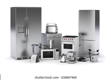3d render image set of home appliances on white background
