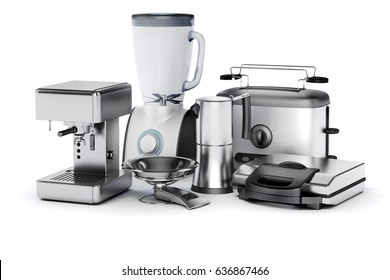 3d render image set of home appliances on white background
