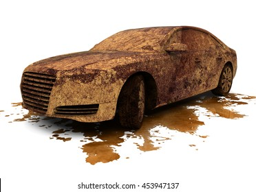 3D render image of a very dirty car / Dirty Car