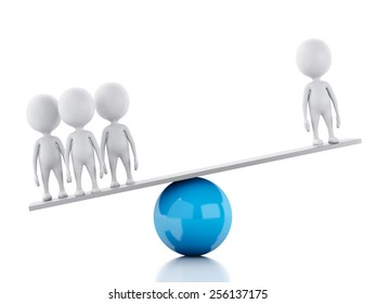 3d render image. White business people on a balance. Team concept. Isolated white background