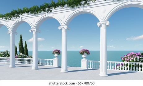 3d render from imagine ancient roman balcony romantic with roman arch in roman architectural style right view