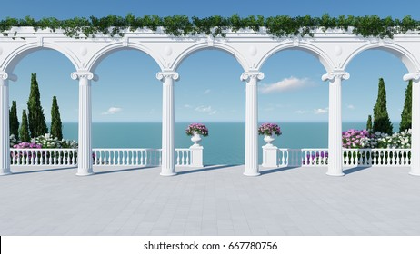 3d render from imagine ancient roman balcony romantic with roman arch in roman architectural style zoom out