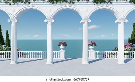 3d render from imagine ancient roman balcony romantic with roman arch in roman architectural style blue sea view