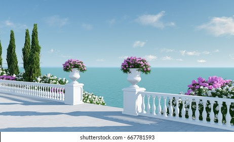 3d render from imagine ancient roman balcony romantic with roman arch in roman architectural style at roman port right view