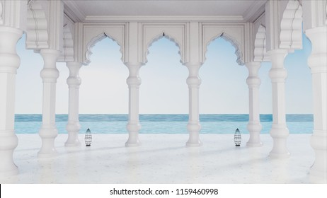 3D render from imagine Arabian pavilion sea view with arch