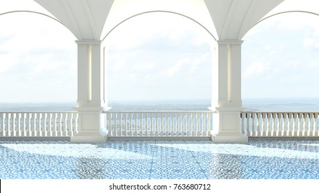 3d render from imagine classic luxury balcony sea view  Italy Mediterranean clear balcony
