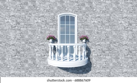 3d render from imagine classic romantic curve balcony in Italy  stone and flower decorate
