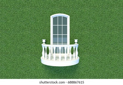 3d render from imagine classic romantic curve balcony in Italy green wall