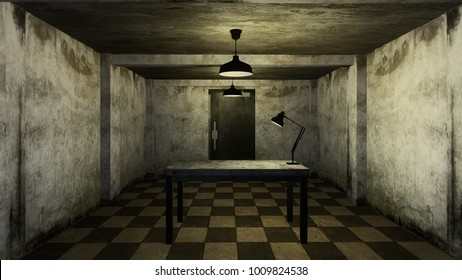 3d render from imagine dark investigation dirty room for interview in hard mood with white brick old room center view