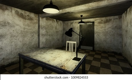 3d render from imagine dark investigation dirty room for interview in hard mood with white brick old room right view