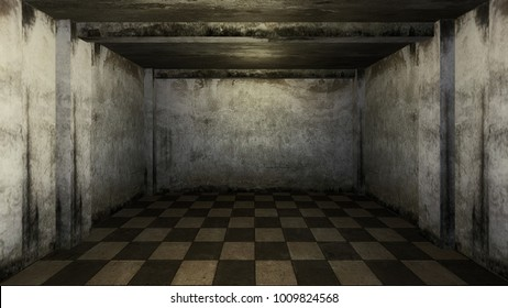 3d render from imagine dark investigation dirty room for interview in hard mood with white brick old room clear room