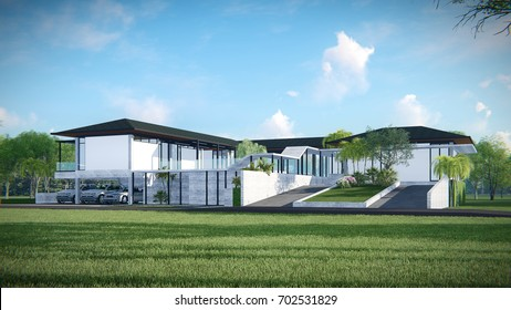 3d render from imagine Modern concrete house luxury style exterior view with swimming pool and garden in daylight  right view