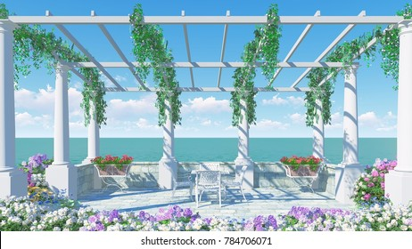3D RENDER FROM IMAGINE romantic balcony in roman style Italy relax dinner  front view