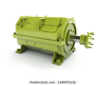 3D render of industrial electrical motor in green housing on white