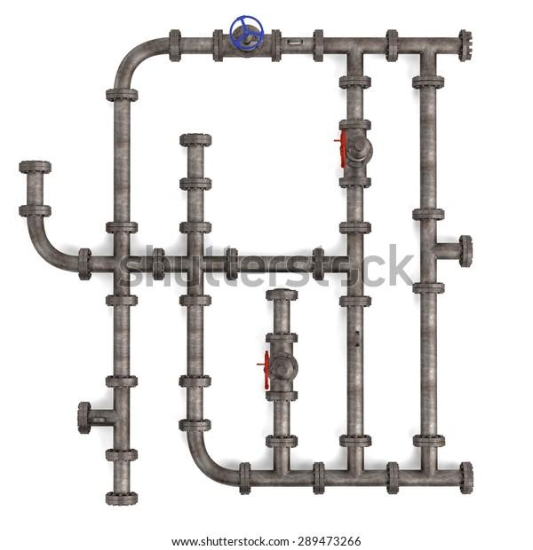 3d Render Industrial Pipes Stock Illustration 289473266