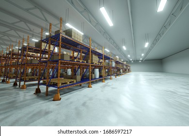 3D render Industrial racks, pallets, boxes, shelves with goods in huge storage rooms. Warehouse equipment, automotive warehouse, logistics, delivery of goods. Copy space