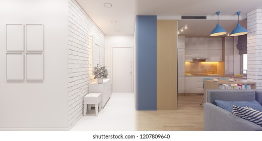 3d render of the interior design of an apartment in Scandinavian style. Architectural visualization of the interior hallway and living room in white colors ambient occlusion