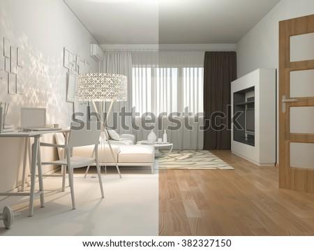 3 D Render Interior Design Living Studio Stock Illustration