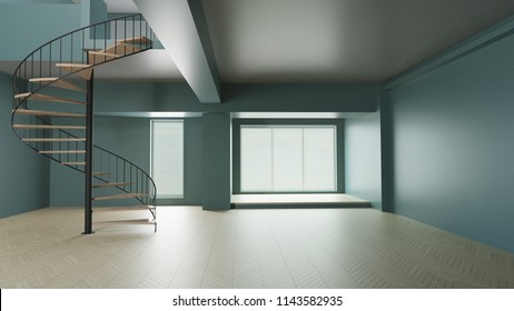 3d render interior earth green room minimal with curve stair relax