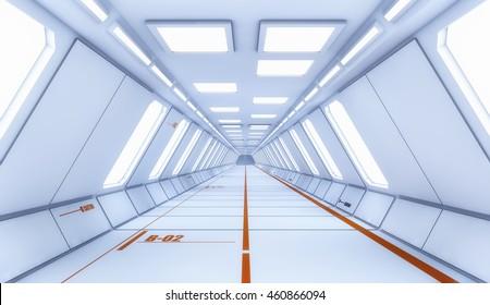 3d render interior. Futuristic corridor. Interior concept design