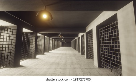 3D render. 3d interior jail corridor prison illustration