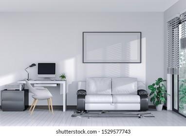 3D render interior living room workspace with sofa, desktop computer and mockup blank poster