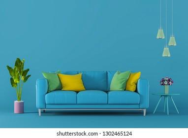 3D render of interior modern living color room