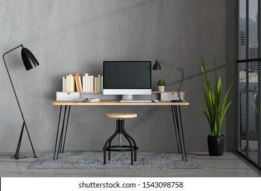 3D render of interior modern living room workspace with desk and desktop computer