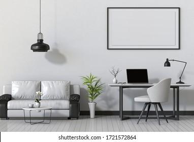 3D render of interior modern living room workspace with sofa, desk, desktop computer