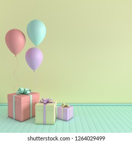 3d render interior with realistic pastel colored balloons and gift box with bow in the room. Empty space for party, promotion social media banners, posters.