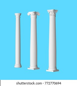 3d render Ionic Doric Corinthian column for architect and decorate