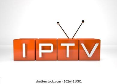 3D render . IPTV . Online television broadcasting . Technology concept