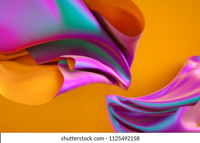 3d render, iridescent holographic foil, folded cloth, abstract fashion background, multicolor textile, vivid colors