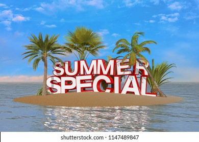 3d render of an island with palm trees and the message summer special in capital letters