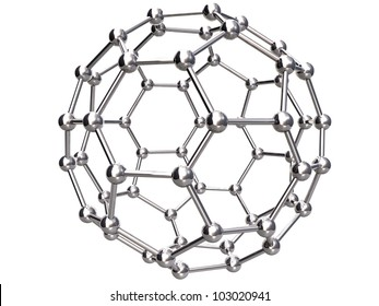 3d Render of Isolated C60 Buckyball