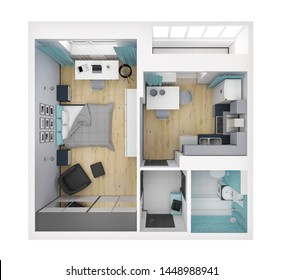 3d render of isolated modern flat. Design of apartments with top view, with ready-to-use interior design, modern furniture set. Living space with using colors, textures and white walls.